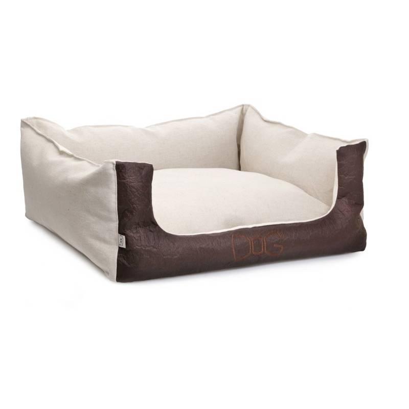 Lit coton et lin, entièrement déhoussable, Piñatex marron 50X60 cm
