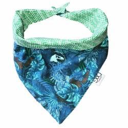 Bandana bleu dinosaures plus chevrons verts